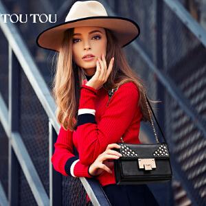 toutou2017春夏新款女包时尚铆钉链条包女士单肩包斜挎包小包包潮