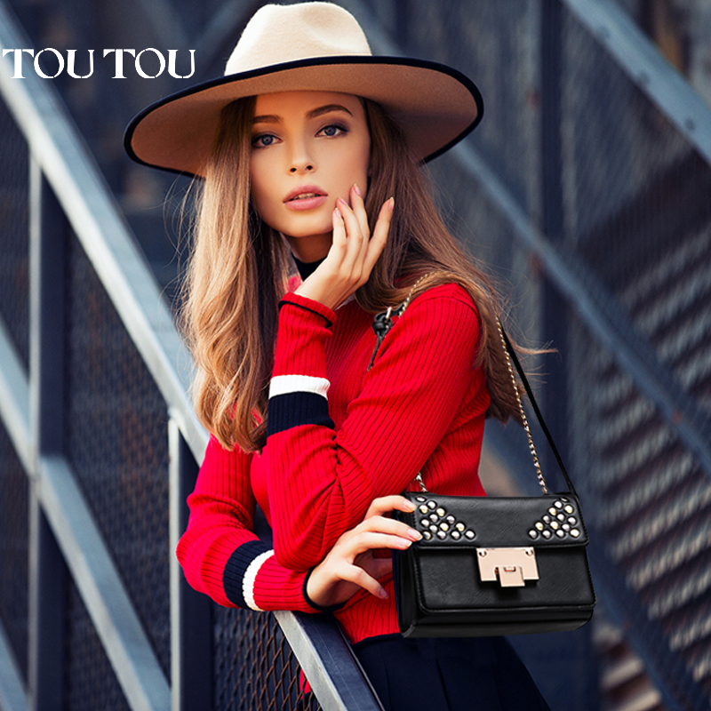 toutou2017春夏新款女包时尚铆钉链条包女士单肩包斜挎包小包包潮金属铆钉装饰 酷爱朋克风