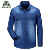 新款AFS/ JEEP吉普正品衬衣水洗纯棉大码长袖衬衫衬衣外套男7503