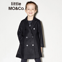 littlemoco春季新品儿童外套女拼接中长款双排扣休闲羊毛呢外套