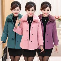 中年妇女冬季棉衣宽松40-50岁中老年女装冬装外套毛呢短款 妈妈装