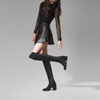 加绒过膝靴长靴女显瘦弹力靴粗跟高跟拉链冬季高筒靴子长筒靴女靴