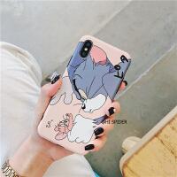 卡通猫和老鼠iphone8plus手机壳苹果X/XS//Max/XR软6s/7P情侣女款 6/6s 粉色(软壳)