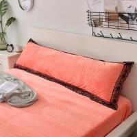 水晶绒双人加长枕套1米2/1米5/1.8m加厚法莱绒枕头套情侣珊瑚长款