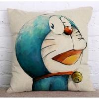 小叮当蓝胖子卡通动漫哆啦A梦棉麻抱枕办公室腰枕亚麻沙发抱枕套