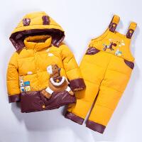儿童羽绒服套装冬款套装背带裤套装可开档男童女童