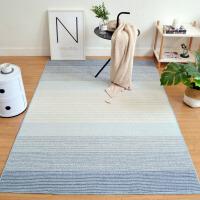 北欧ins简约现代 圈绒地毯客厅茶几沙发地垫卧室床边毯素蓝色 蓝米条纹