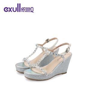 依思q夏季新款凉鞋女水钻坡跟高跟女鞋