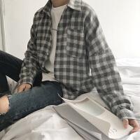 日系复古bf黑白格子衬衫男长袖宽松韩版春季新款衬衣学生潮牌外套qg