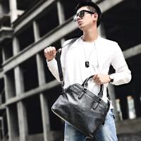 新款男士手提包横款 多功能公文包韩版男包斜挎包潮