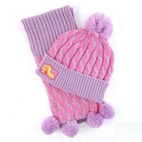冬季女童厚帽子 幼儿童针织帽子围巾两件套装 毛线护耳保暖宝宝帽子
