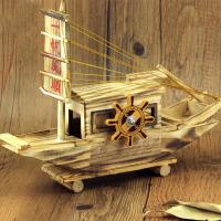萌味 摆件 木制一帆风顺音乐帆船音乐盒学生生日礼物创意礼品家居工艺品客厅电视柜摆饰摆放物品装饰品
