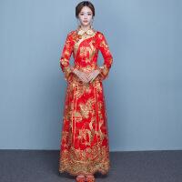 中式婚纱礼服新娘敬酒服旗袍2018新款冬季加厚保暖加棉秀禾服红装
