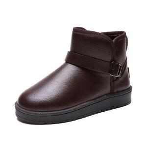 WARORWAR新品YM145-102冬季韩版磨砂反绒平底舒适真兔毛女士短靴情侣雪地靴