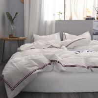 被套 四件套 水洗棉纯色双人被罩纯棉素色床单1.8/2.0m 白色 洛可可1烟白
