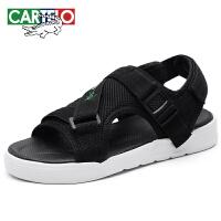 卡帝乐鳄鱼 CARTELO 男士时尚便捷魔术贴透气防滑轻盈舒适套脚沙滩凉鞋 KDL201 黑色