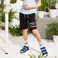 【1件2.5折到手价:37.3】米喜迪mecity童装夏新款男童左脚口字母印花针织裤