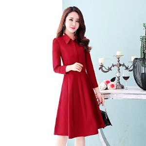 春秋衬衫连衣裙女长袖2018新款韩版中长款秋季有女人味的裙子秋裙