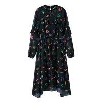 【2件2.5到手价:94】美特斯邦威连衣裙女长袖中长裙子韩范个性收腰雪纺裙秋装新款