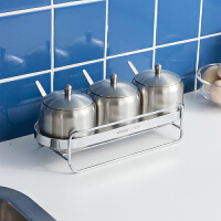 【领券满188减100】ORZ 厚身304不锈钢调味罐连架套装 带勺子厨房调料罐调味瓶罐
