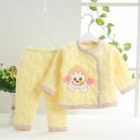 春秋冬季初生宝宝薄棉衣两件套装新生幼婴儿纯夹棉保暖袄居家衣服