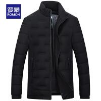 「狂欢!到手价:299」Romon/罗蒙羽绒服男大码立领防风中老年短款黑色上衣休闲保暖外套