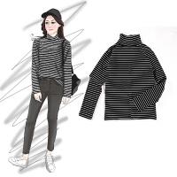 2018新款秋冬季黑白条纹T恤宽松百搭修身半高领打底衫女长袖