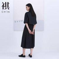 【1件4折到手价:198】CHIN祺夏新款法国小众假两件连衣裙衬衫OL风纯色简约黑连衣裙