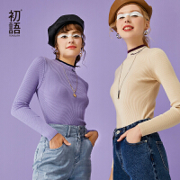 【2件3折 叠券预估价:63.1元】初语打底衫女内搭2020秋新款撞色假两件上衣刺绣修身螺纹针织毛衣