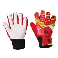 儿童守门员足球手套 带护指青少年加厚门将龙门手套乳胶比赛训练 红色 5码