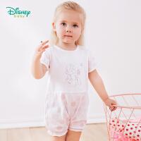 迪士尼Disney童装 女宝宝纯棉连体衣波点印花外出服夏季新款白雪公主短袖哈衣192L772