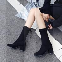 短靴女2018秋冬新款粗跟弹力靴女靴高跟尖头中筒靴英伦风马丁靴子SN6423