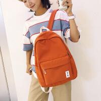 纯色书包女布防水双肩包少女青少年校园背包旅行包