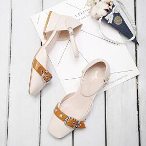 阿么2017秋季上新韩版玛丽珍鞋时尚皮带扣中跟凉鞋子方头粗跟女鞋