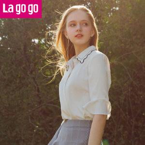 Lagogo2018春夏季新款时尚刺绣小翻领喇叭袖雪纺衬衫女打底上衣HACC333C32