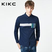 kikc长袖衬衫男2018秋季新款个性潮流纯棉休闲纯色拼接扣领衬衣男