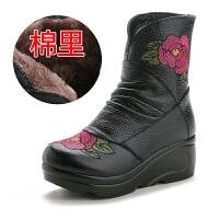 皮鞋女中筒冬季新款女棉鞋绣花民族风靴子加绒保暖妈妈鞋厚底中筒棉皮鞋lkf 黑色 黑色棉里