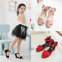 女童凉鞋蝴蝶结高跟儿童公主鞋小女孩沙滩鞋