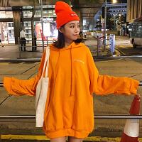春季韩版女装原宿宽松百搭字母印花中长款连帽卫衣学生外套上衣