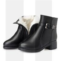 妈妈棉鞋秋冬保暖中老年羊毛靴子女短靴真皮软底加绒棉靴大妈女靴SN8674