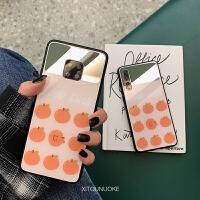 创意小清新橘子镜面华为mate20x手机壳p20mate20pro玻璃壳nova4少女款p10plu