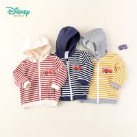 【3件2.6折到手价:69.9】迪士尼Disney童装 男童前开条纹连帽外套秋季新品闪电麦昆印花上衣193S1175