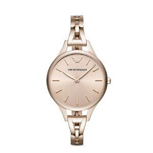Armani阿玛尼女士玫瑰金潮流手表 钢带圆形小巧休闲石英表AR11055