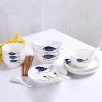餐具套装 景德镇18头碗碟套装家用简约碗筷套装陶瓷器吃饭碗具筷子勺子盘子菜盘餐具