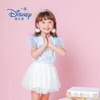 【3件3折到手价:39】迪士尼冰雪奇缘童装女童夏装2019春夏新品T恤上衣