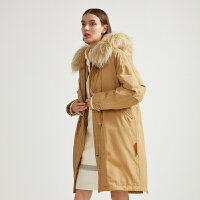 【热卖精选】商场同款迪赛尼斯2020冬季新款中长款时尚加厚外套大毛领派克服女