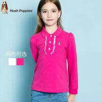 暇步士童装新款女童秋装polo衫中大童T恤儿童时尚长袖衫