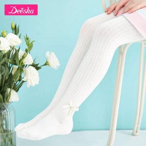 【3件3折到手价:23】笛莎童袜秋季新款女童袜子条纹蝴蝶结连裤袜儿童袜子纯色