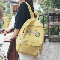 双肩包女韩版新款原宿高中学生书包学院风帆布背包