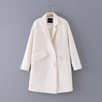111 冬季新款百搭中长款翻领长袖女式外套毛呢大衣